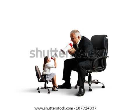 conflict between woman and senior man. isolated on white background - stock photo