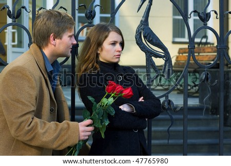 Conflict on the date. - stock photo