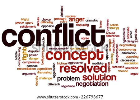 Conflict word cloud concept - stock photo