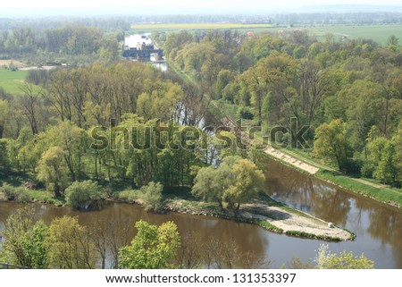 Confluence of rivers Vltava and Labe nearby Melnik, Czech Republic, Central Europe - stock photo