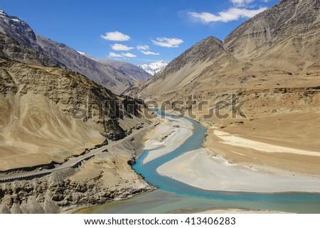 Confluence of Zanskar and Indus rivers - Leh, Ladakh, India - stock photo