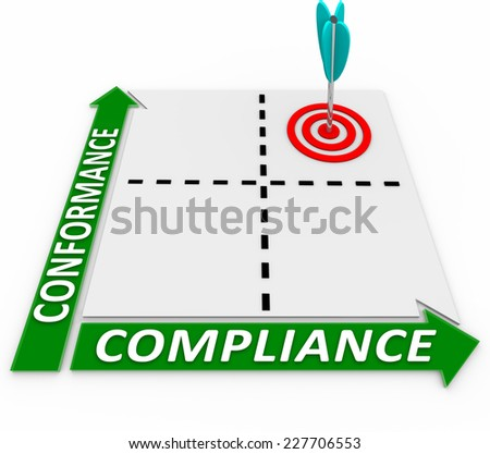 Conformance and Compliance words on a matrix to illustrate following business rules, laws, guidelines and regulations - stock photo