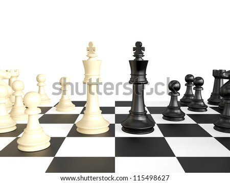 Confrontation of chess pieces kings on game play, isolated on white background. - stock photo