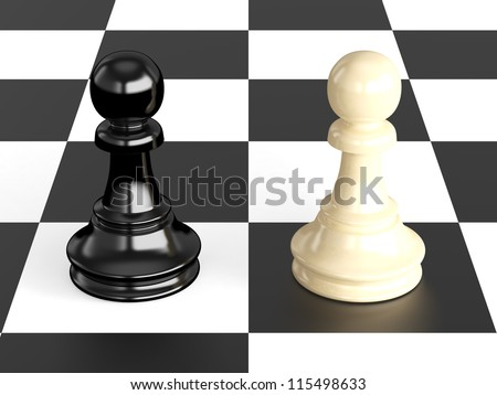 Confrontation of chess pieces pawns on board, isolated on white background. - stock photo