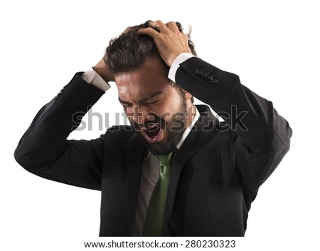 Confused businessman stressed out from work screams - stock photo