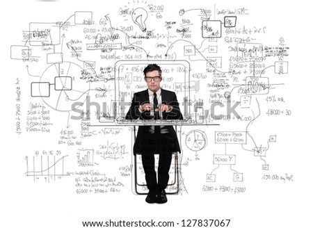 confused businessman working at desk - stock photo