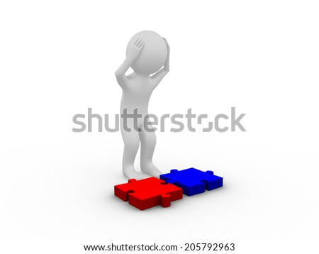 Confused 3D man standing with puzzle pieces on white background with a head down - stock photo