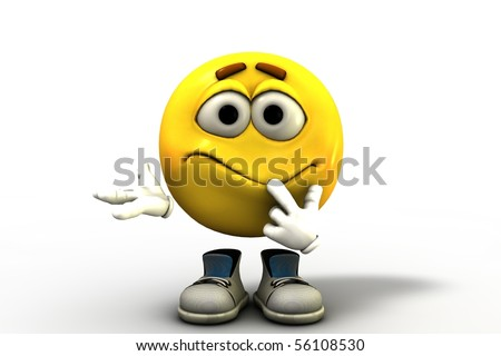 Confused Emoticon - stock photo