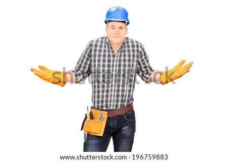 Confused male engineer gesturing with hands isolated on white background - stock photo