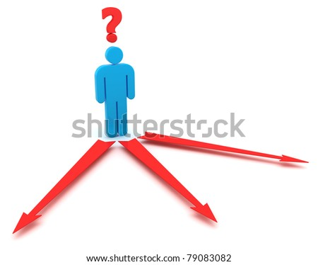 Confused man thinking over a right direction - stock photo
