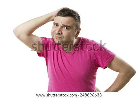 Confused man tired of problems, questioning look, waiting for help and tips - stock photo