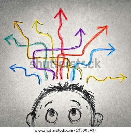 confused man trying to choose - stock photo