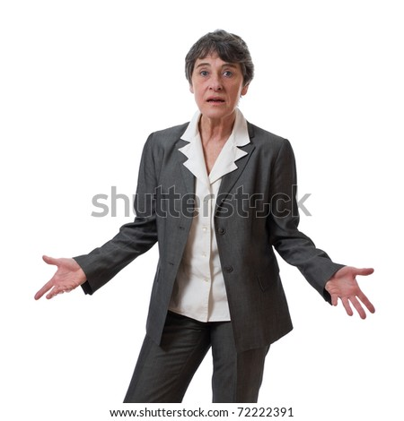 confused mature businesswoman with hands out isolated on white background - stock photo