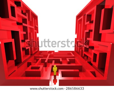 confused person with labyrinth background - stock photo