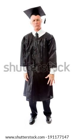 Confused senior male graduate thinking - stock photo