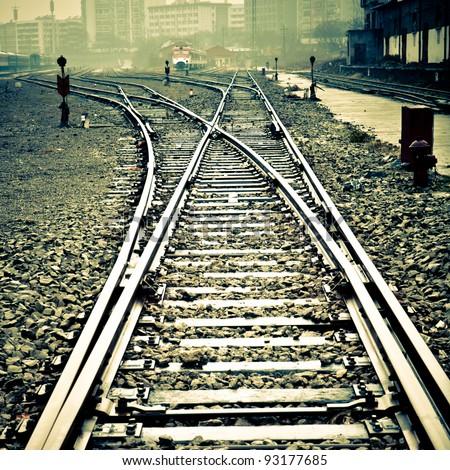 Confusing railway tracks - stock photo