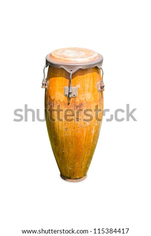 Conga drum, isolated on white background, with clipping path - stock photo