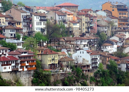 Congested residential district of Veliko Tarnovo in Bulgaria on a gloomy day in the spring - stock photo