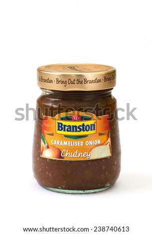 CONGLETON, UK - DECEMBER 19, 2014: Jar of Branston caramelised onion chutney - stock photo
