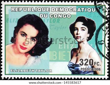 CONGO - CIRCA 2006. A postage stamp printed by CONGO shows image portrait of British and American actress Elizabeth Taylor, circa 2006. - stock photo