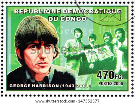 CONGO - CIRCA 2006: A postage stamp printed by CONGO shows image portrait of  famous English musician, composer, singer and songwriter George Harrison, circa 2006. - stock photo
