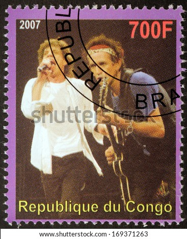 CONGO - CIRCA 2007: A postage stamp printed by CONGO shows image portrait of  famous English musicians Mick Jagger and Keith Richards, circa 2007. - stock photo