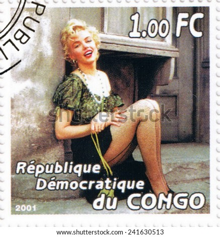 CONGO - CIRCA 2001: A stamp printed in Congo depicting an image of legendary Hollywood actress Marilyn Monroe, circa 2001 - stock photo