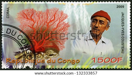 CONGO - CIRCA 2009: A stamp printed in Congo shows coral and Jacques Cousteau (1910-1997), circa 2009 - stock photo