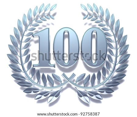 Congratulation hundred Silver laurel wreath with the number hundred inside - stock photo