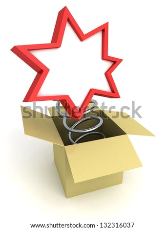 congratulation plate on metallic spring from cardboard box - stock photo