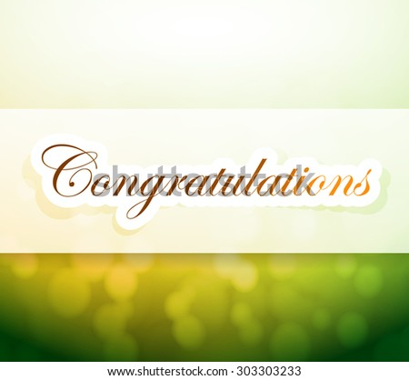 congratulations bokeh light sign illustration design background - stock photo