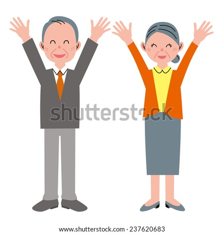 Congratulations! Old people - stock photo
