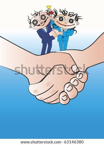 Congratulations shake hands a cartoon - stock photo