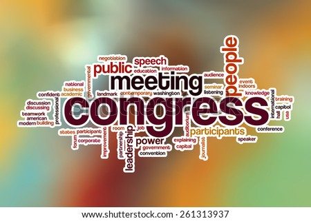 Congress word cloud concept with abstract background - stock photo