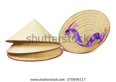 Conical Shape Oriental Straw Hats on White Background - stock photo