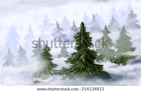 Coniferous forest in fog. Digital drawing - stock photo