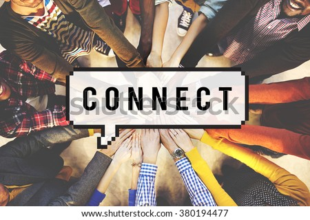 Connect Social Media Networking Contact Interconnection Concept - stock photo