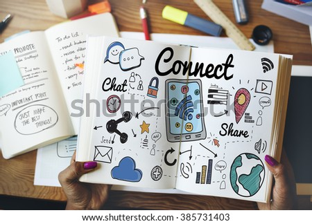 Connect Social Media Social Networking Concept - stock photo