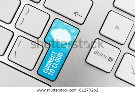 Connect to cloud computing concept showing on computer key. - stock photo