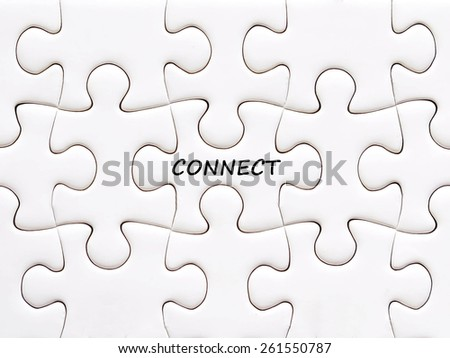 Connect word on white puzzle piece, social media and business concept background - stock photo