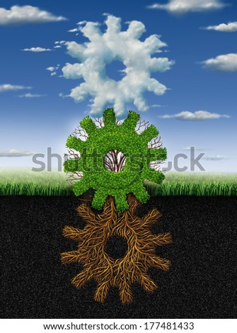 Connected environment nature concept and renewable energy metaphor as roots tree plant and clouds shaped as a group of gears and cogs working together as a symbol of industry networking cooperation. - stock photo
