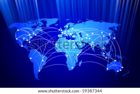 connected global network concept - stock photo