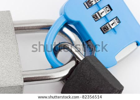 Connected locks - on white background - stock photo