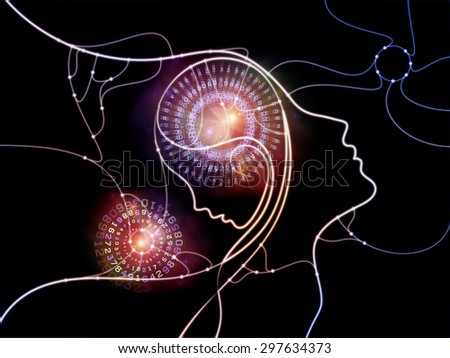Connected Minds series. Backdrop design of human profiles, wires, shapes and abstract elements for works on mind, artificial intelligence, technology, science and design - stock photo