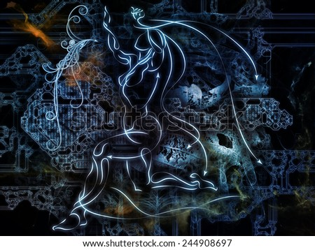 Connected Reality series. Background design of human lines, numbers, lights on the subject of  metaphysics, religion, philosophy, science and modern technology - stock photo