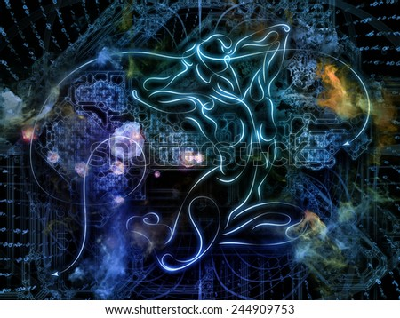 Connected Reality series. Composition of human lines, numbers, lights on the subject of  metaphysics, religion, philosophy, science and modern technology - stock photo