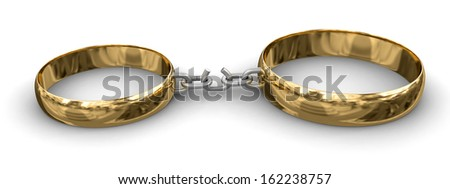 Connected rings (clipping path included) - stock photo