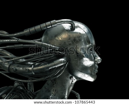Connected Robot in profile - stock photo