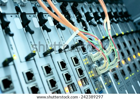 connected telecommunication data device  - stock photo