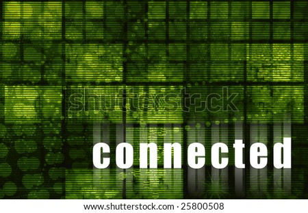 Connected to the Internet Web Abstract Green - stock photo